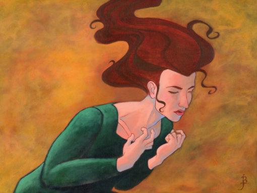 Woman Bowed Under a Heavy but Unseen Burden